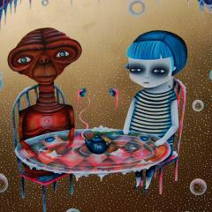 'Tea with E.T' painting by Everly Dark