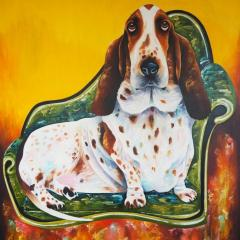 'Happy, not just a dog' painting by Everly Dark