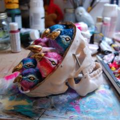 Bird skull sculpture in the studio by Everly Dark