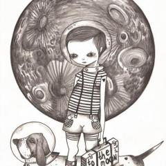'To the moon' illustration by Everly Dark